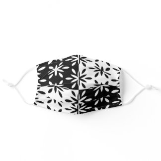 Graphic Black and White Geometric Flower Pattern Adult Cloth Face Mask
