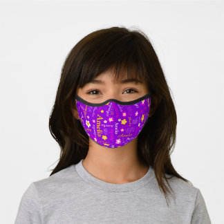 Graphic flowers and text Amelia pink white yellow Premium Face Mask