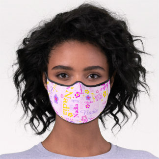 Graphic flowers and text nadia light pink purple premium face mask