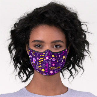Graphic flowers and text olivia purple pink yellow premium face mask