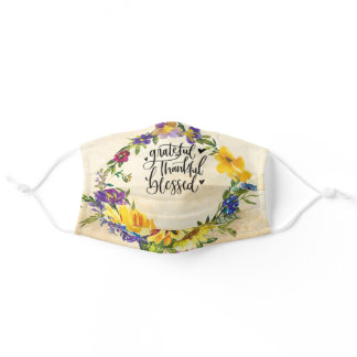 Grateful Thankful Blessed Hearts & Flowers Adult Cloth Face Mask