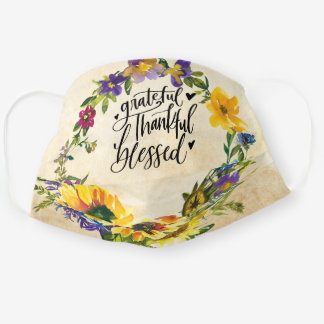Grateful Thankful Blessed Hearts & Flowers Cloth Face Mask