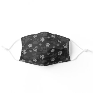 Gray and Black Cat Paw Print Pattern Adult Cloth Face Mask