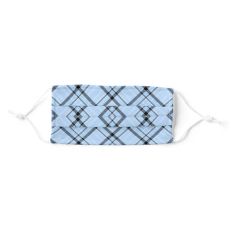 gray and blue plaid pattern adult cloth face mask