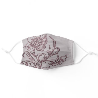 Gray and Burgundy Wine Modern Floral Design Adult Cloth Face Mask