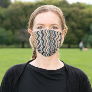 Gray and Orange Wavy Stripes Adult Cloth Face Mask