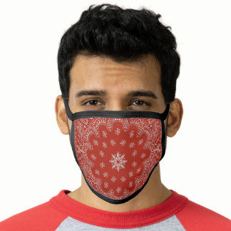 Gray and red decorative paisley pattern face mask
