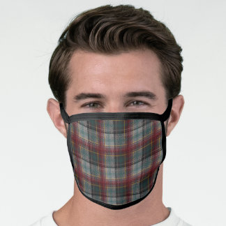Gray and Rust Red Autumn Plaid Face Mask