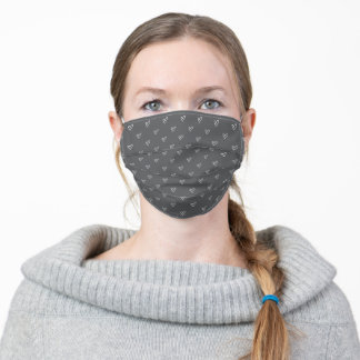 Gray and White Cute Heart Outline Pattern Adult Cloth Face Mask