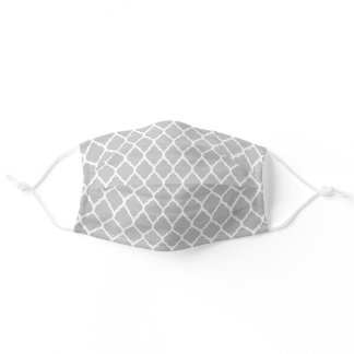 Gray and White Moroccan Pattern Adult Cloth Face Mask