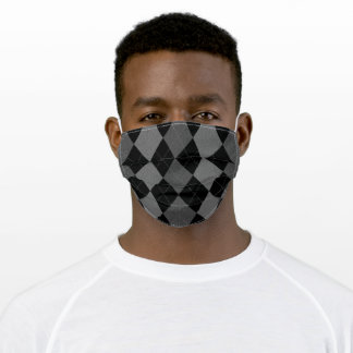 Gray, Black Argyle Check Pattern Face Mask