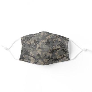 Gray, Black, Brown Pixel Camo Camouflage Adult Cloth Face Mask