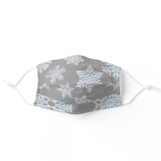 Gray Brown Grey Frozen Winter Snowflakes Christmas Adult Cloth Face Mask