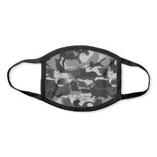 Gray Camouflage Cats Pattern Grey Kitty Cats Camo Face Mask