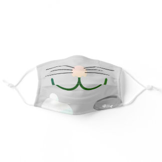 Gray Cat Face Adult Cloth Face Mask