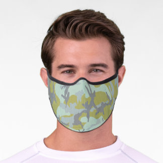Gray Green Camo Pattern Premium Face Mask