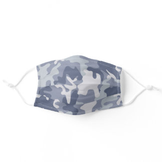 Gray Green Smoky Blue Camo Health Adult Cloth Face Mask