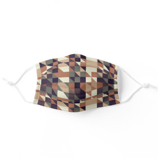 Gray Green Taupe Brown Beige Tan Polygon Pattern Adult Cloth Face Mask