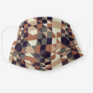 Gray Green Taupe Brown Beige Tan Polygon Pattern Cloth Face Mask