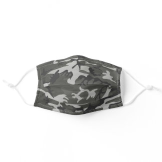 Gray Grey Camo Camouflage Pattern Cute Adult Cloth Face Mask