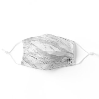 Gray Marble and Black Three Letter Monogram Adult Cloth Face Mask