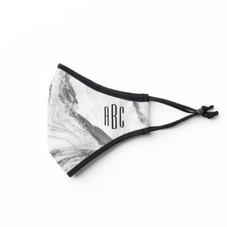 Gray Marble and Black Three Letter Monogram Premium Face Mask