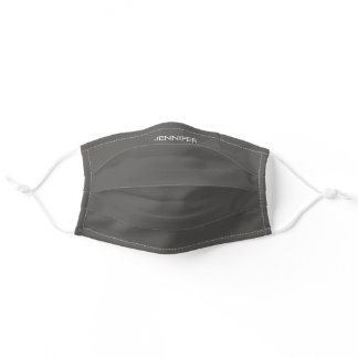 Gray Simple Add Your Own Name Monogram Adult Cloth Face Mask