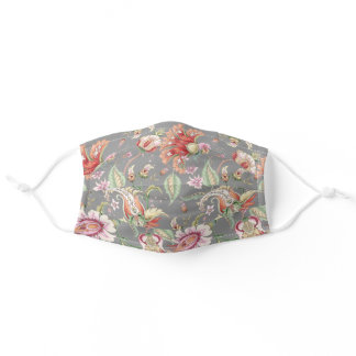 Gray | Tropical Fantasy Boho Floral Pattern Adult Cloth Face Mask
