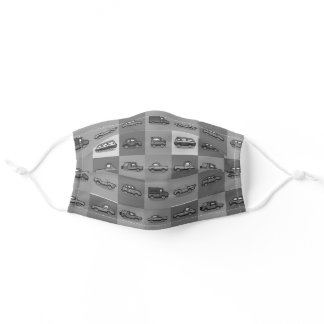 Gray White Automobile Masculine Pattern Adult Cloth Face Mask