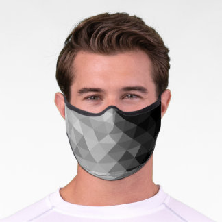 Grayscale triangle geometric squares pattern premium face mask