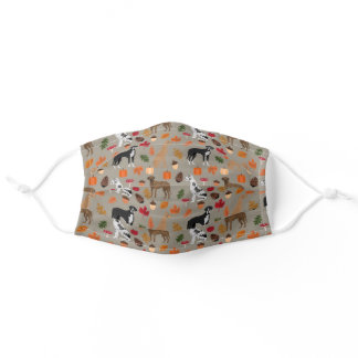 Great Dane Autumn Leaves taupe Adult Cloth Face Mask