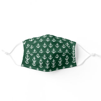 Green Anchors Pattern Adult Cloth Face Mask