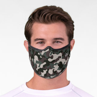 Green and brown camouflage custom monogram premium face mask