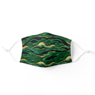 Green and Gold Tiger Stripe Pattern Adult Cloth Face Mask
