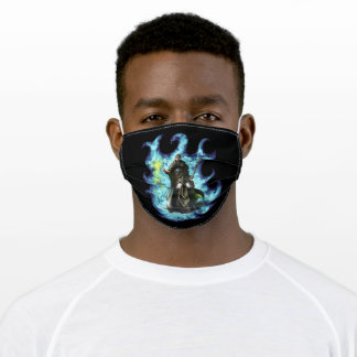 Green and Grey Wizard   Fantasy Character Adult Cloth Face Mask