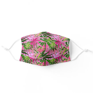 Green and Hot Pink Trees Tropical Plants Adult Cloth Face Mask