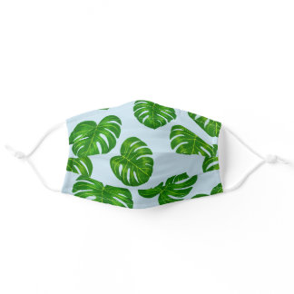 Green and Light Blue Monstera deliciosa Leaves Adult Cloth Face Mask