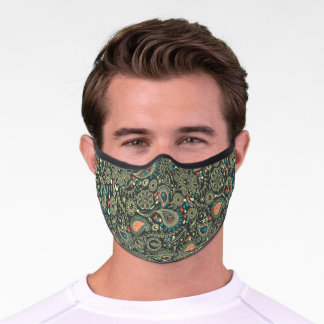 Green And Orange Paisley Premium Face Mask