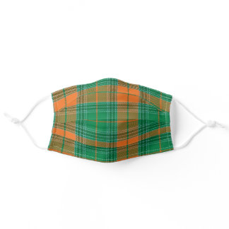 Green and Orange Plaid Face Mask