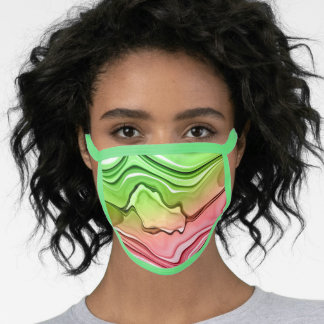 Green and Pink Watermelon Ink Swirls Mask