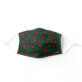 Green and Red Floral Paisley Pattern Flowers Chic Adult Cloth Face Mask