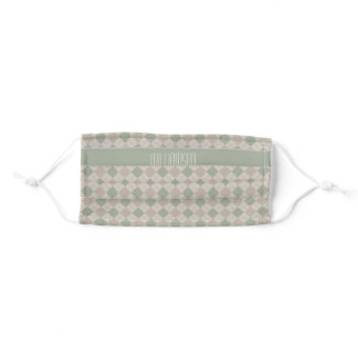 Green and Taupe Harlequin Pattern With Your Name Adult Cloth Face Mask