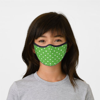 Green and White Heart Pattern Premium Face Mask