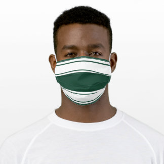 Green and White Sports Stripe Adult Cloth Face Mask