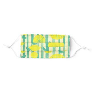 Green and yellow lemon pattern adult cloth face mask