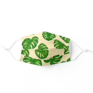 Green and Yellow Monstera Deliciosa Leaves Pattern Adult Cloth Face Mask