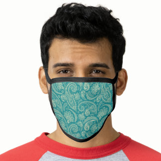 Green Beige Paisley Face Mask