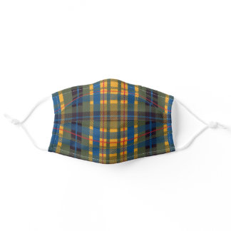 Green Blue & Yellow Tartan Plaid Adult Cloth Face Mask