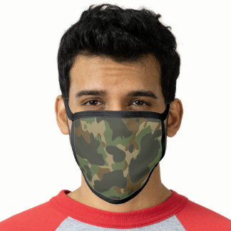 Green Brown Khaki Military Nature Camouflage Face Mask