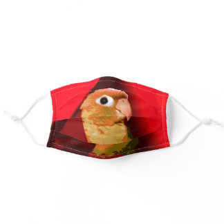 Green Cheek Conure Pet Parakeet Parrot Bird Red Adult Cloth Face Mask